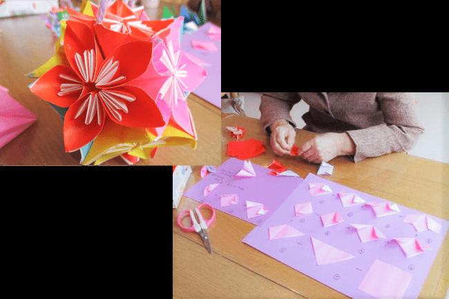 折り紙を折る利用者様・折り紙の完成品